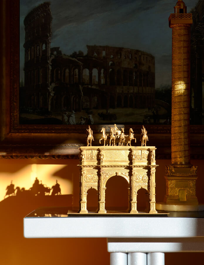 Piraneseum's Gilded Arch of Constantine before Viviano Codazzi's 17th century painting - View of the Colosseum and Arch of Constantine.
