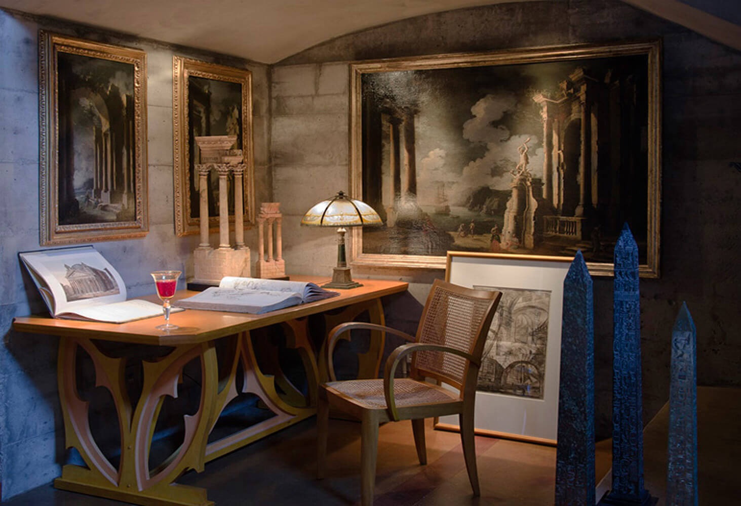 Alcove at Piraneseum with Capricci , Architectural Prints, and Grand Tour Models