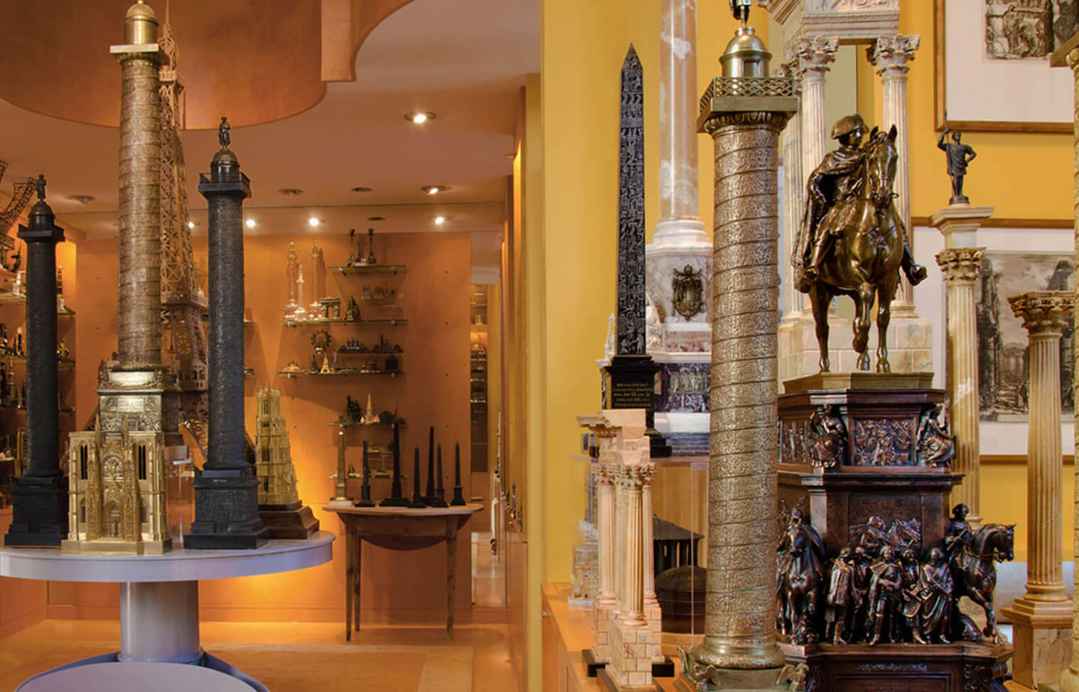 Piraneseum's collection Grand Tour Architectural Models fill a tall and light-filled gallery designed especially for them.